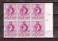 SWAZILAND, KGV1, 1938 DEFINS, 6d SG 34a, DEEP MAGENTA, MNH   BLOCK  4, CAT £36