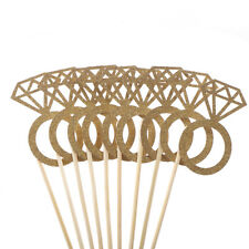 10pcs Diamond Ring Cupcake Toppers Engagement Wedding Party Table Decors Pip