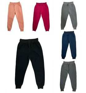 Boys Girl Plain Basic PE School Jogging Sports Tracksuit Bottoms Joggers 4-14 yr