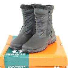 SPORTO womens winter boots shoe size 7 M black quilted fabric upper zip side NEW