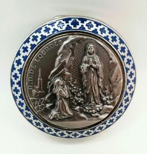 Silver-plated Our Lady of Lourdes Pill/Rosary Box from Italy