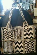Rag Quilt Black and White Large Tote