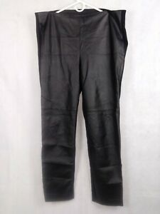 Chicos pants Faux Leather front 3 Black Stretch Pull on Leggings