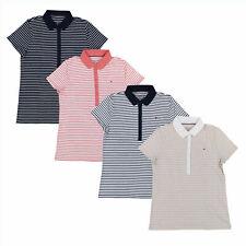 Tommy Hilfiger Camisa Polo Feminina com gola, blusa casual, Logotipo Bandeira Top Listrado