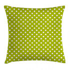 Retro Throw Pillow Case Lime Vintage Polka Dots Square Cushion Cover 18 Inches