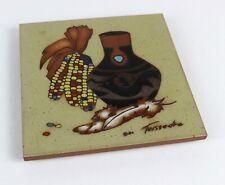 "Vintage Southwestern Cleo Teissedre Corn & Fire Kiln Vase Ceramic 6"" x 6"" Tile"