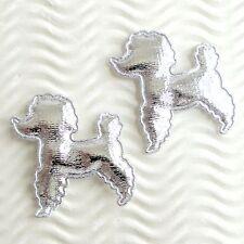 "US SELLER - 40 pcs x 1.75"" Padded Shiny Silver Felt Poodle Appliques/Dog ST647"