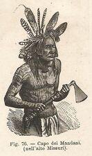 A2120 Capo dei Mandani - Xilografia - Stampa Antica del 1895 - Engraving