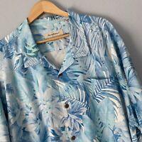Tommy Bahama 3XL Hawaiian Shirt Blue Palm Leaf Short Sleeve