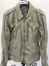 Mens Duck And Cover Army Green Military Style Jacket Lightweight Overshirt Sz L