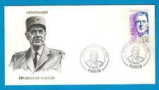 1990-ENVELOPPE PORTRAIT-GENERAL DE GAULLE - OBL.PARIS - TIMBRE..Yt.2634