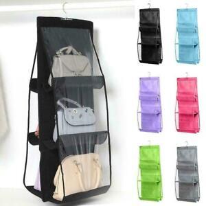 6 Pockets Hanging Closet Organizer Foldable Handbag Purse Bag Storage P8Q5