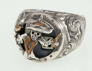 """Vogt """"Johnny Bones"""" Sterling Silver Shadowbox Ring w/ Gold (10k and 14k) Accents"""