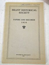 Brant Historical Society Papers and Records 1930 Medical Doctors Burial Grounds