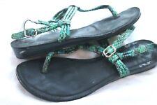 Fergalicious  Women's Snakeskin Turquoise Leather Flat Thong Sandal