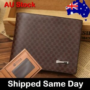Mens Wallet Genuine Leather Bifold Brown Gift Idea Credit Card
