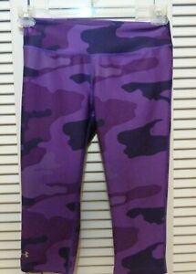 Under Armour Fitted Heat Gear Purple Camo Capri Pants / Leggings sz Small