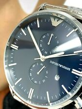Emporio Armani Men's Watch AR1648 Dark Blue Dial Stainless Steel Chronograph