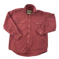 Field & Stream Thick Flannel Button Up Long Sleeve Shirt Mens Large Red Solid