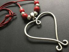 Long RED Suede necklace With A Big Antique Silver Heart Pendant Lagenlook Boho