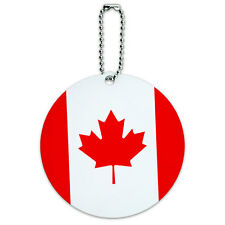 Canada National Country Flag Round Luggage ID Tag Card Suitcase Carry-On