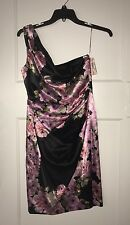 NEW NWT MAGGY LONDON DRESS, Size 12, One Shoulder, Black/Pink, Maggie