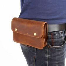 Men Waist Pack Genuine Leather Belt Waist Pouch Double Male Fanny Pack Phone