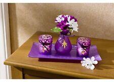 4 tlg. Dekoset  Glasteller Vase Teelichthalter violett Geschenk Set Tischdeko **