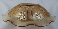 Vintage Amber Iridescent Marigold Carnival Glass Bowl Fluted Edge