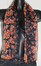 Foulard écharpe bleu marine et orange 124x49 Bon état