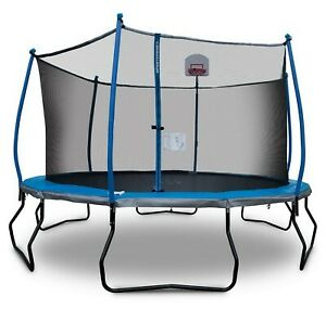 Round 14' Trampoline with Basketball Goal & Safety Enclosure Bounce Pro