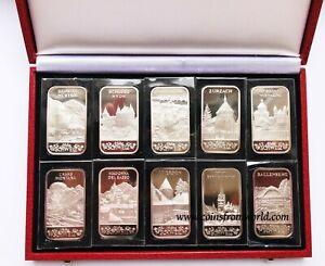 Argor Heraeus SA Switzerland  10x1 oz  Fine Silver Bar Ingot Sealed Set Box NO 1
