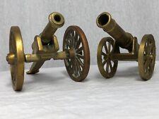 2 Fine Small Victorian Style Brass Cannon Ornaments