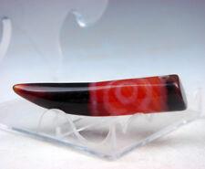 Old Tibetan Agate Cinnabar Crafted *3 Eyes* Tiger Tooth Dzi Bead #07311711