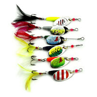 6Pcs Metal Fishing Lures Spoon Set Spinner Baits CrankBait Bass Tackle Hooks