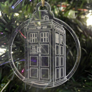 6 Pk of Handmade DR WHO themed Clear Acrylic Christmas Tree Decorations