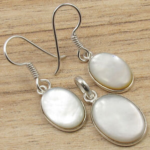 FASHIONABLE EARRINGS PENDANT SET! MOTHER OF PEARL SHELL Oval ! 925 Silver Plated
