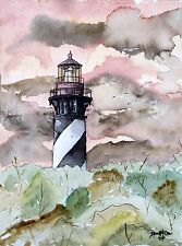 st augustine florida fl lighthouses lighthouse watercolor painting art print