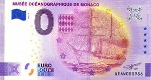 98 MONACO Musée océanographique, Navire, 2021, Billet Euro Souvenir