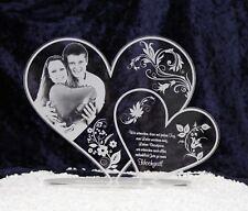 Acryl Doppel-Herz Geschenk zur Hochzeit Weihnachten Valentinstag Fotogravur