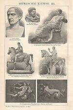 B0409 Arte Romana - Xilografia d'epoca - 1903 Vintage engraving