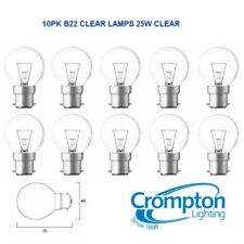 10 Pack 25W Clear Fancy Round Light Globes / Bulbs Bayonet Cap B22