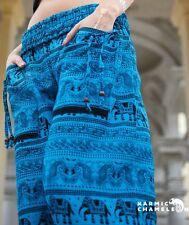 Harem Pantalones de Yoga Hippie Elefante Azul Brillante Festival Boho Gitano Suelto cómoda