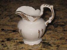 Vintage White with Gold Porcelain Creamer Pitcher Antique