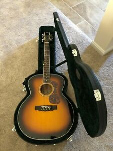 Guild F-2512E Deluxe !2 String Acoustic Electric Sunburst Guitar With Case
