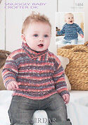 Sirdar Baby Knitting Pattern - 1484 - Sweaters - F086 Snuggly Baby Crofter DK