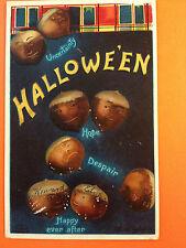Halloween Fantasy Postcard In'l Art Germany Acorns w/faces of emotions