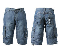 New Mens Enzo Denim Shorts Multi Pockets Cotton Cargo pants Combat Summer 28- 42