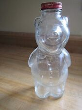 Piggy Bank Syrup Bottle 1950s Vintage Clear Glass w/ Red Metal Lid