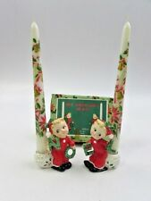 VTG Commodore Japan Noel Cherub Figurines Candle Holders Christmas With Candles